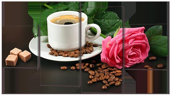 """Модульная картина """"Кофе и розовая роза"""""""