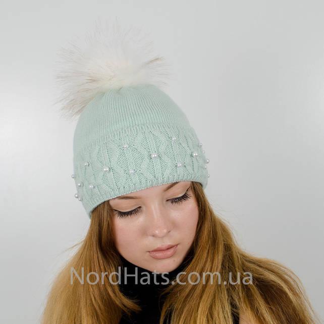 """Женская шапка с помпоном """"Фиби"""" (Мята)"""