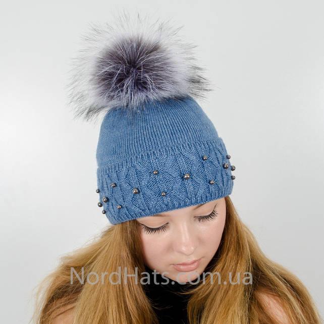 """Женская шапка с помпоном """"Фиби"""" (Синий)"""