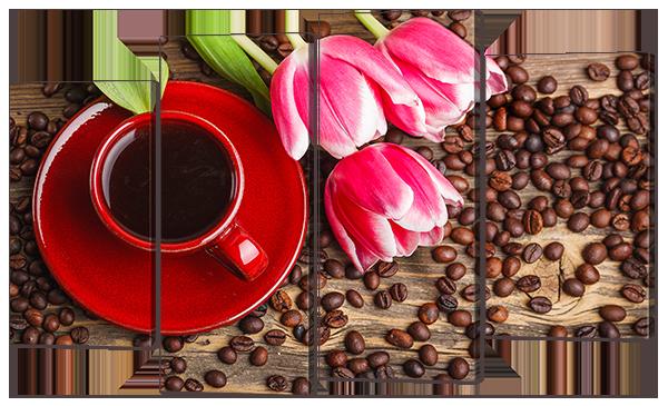 """Модульная картина """"Кофе и розовые тюльпаны"""""""