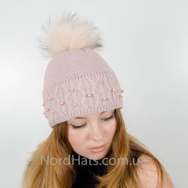 """Женская шапка с помпоном """"Фиби"""" (Пудра)"""