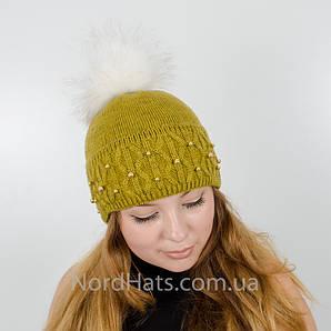 "Женская шапка с помпоном ""Фиби"" (Горчица)"