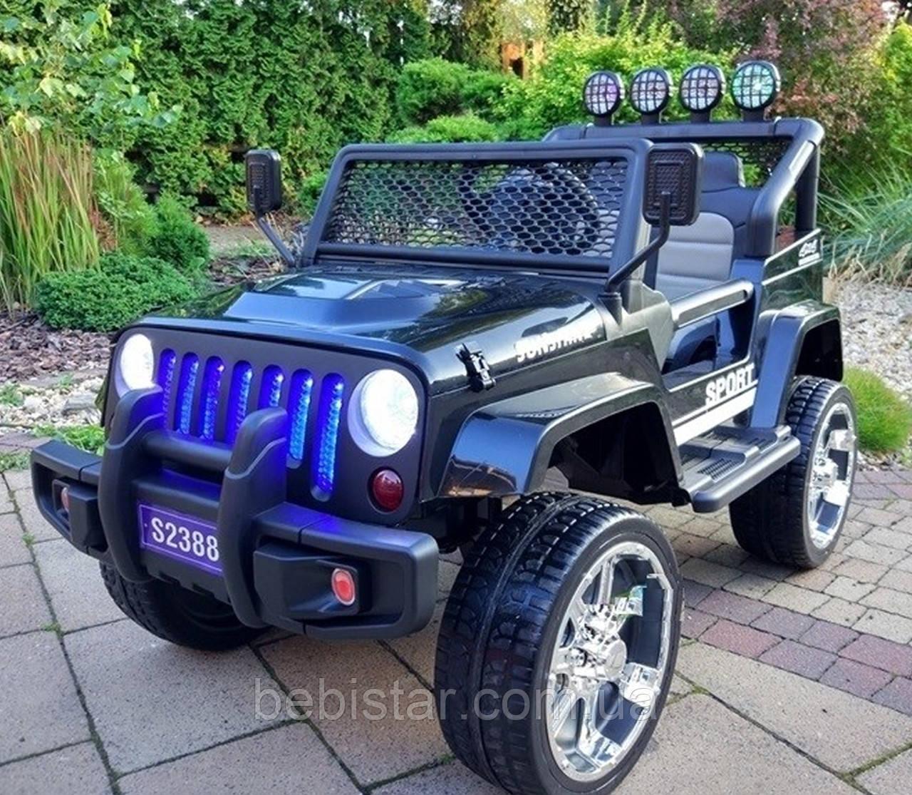 Електромобіль Джип чорний TY-2388 BLACK діткам 3-8 років з пультом, акумулятор 2*6V4.5AH, мотор 2*45W
