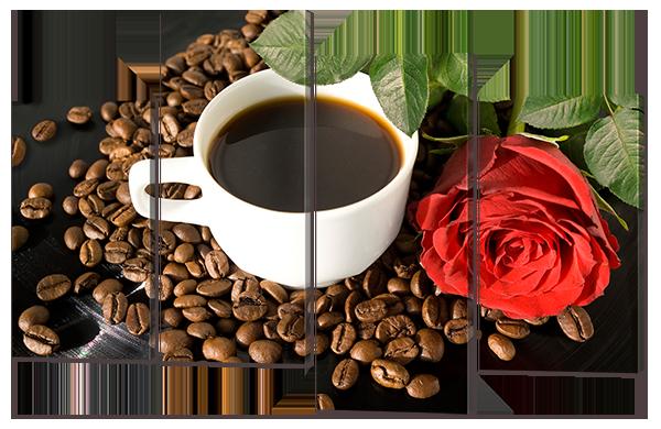 Модульная картина Кофе и красная роза
