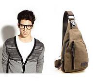 Мужской тканевый рюкзак на одно плечо. Размер 30*16 см. Разные цвета