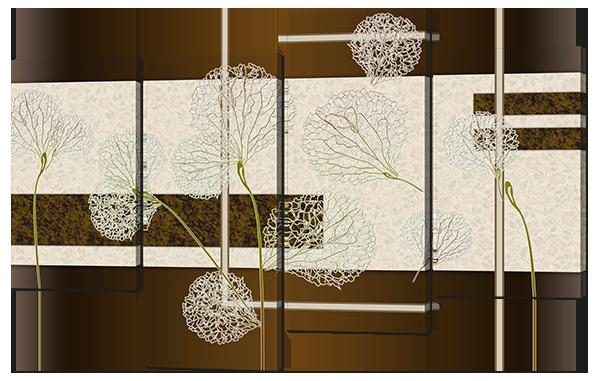 Модульная картина Одуванчики. Абстракция в пастельных тонах.