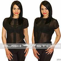 Шифонова блузка з планкою