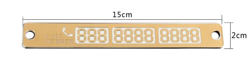 Табличка с номером телефона під лобовое стікло на присосках, колір золотистий