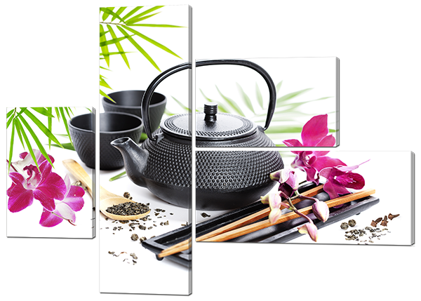 Модульная картина Чай и розовые цветы на сером фоне