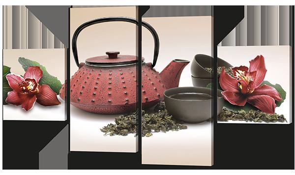 Модульная картина Красный чайник и маки