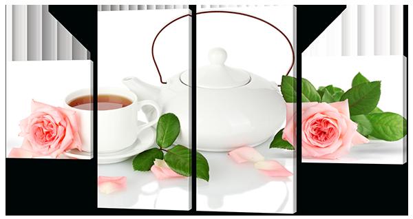 Модульная картина  Чаепитие с розовыми розами