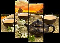 Модульная картина Чаепитие с цветами на закате
