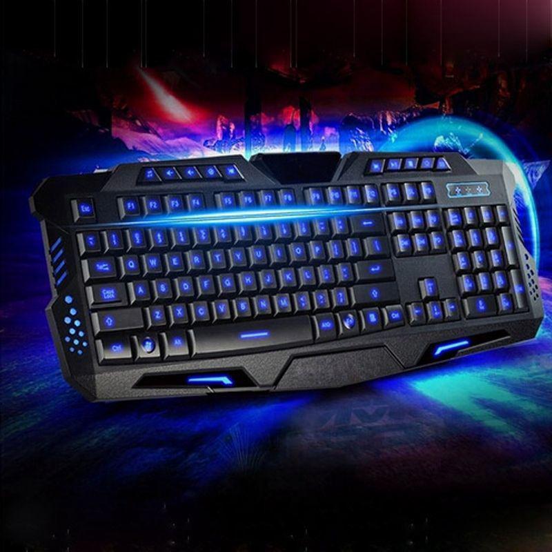 Игровая проводная русская клавиатура M200 с подсветкой USB для ПК компьютера