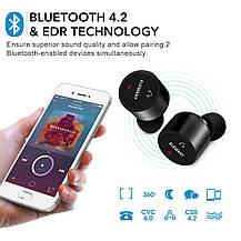 Спортивные наушники-вкладыши Bluetooth 4.2 с микрофоном пара черные, фото 3