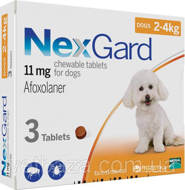 Нексгард NexGard таблетки от блох и клещей для собак от 2 до 4 кг,  1 шт