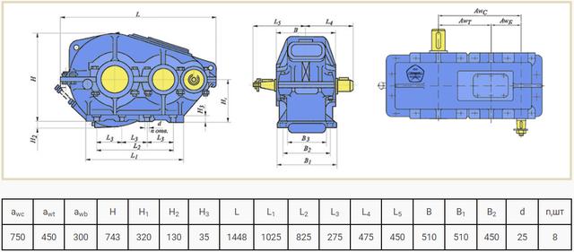 Габаритные размеры редуктора РМ-750 чертеж