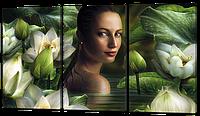 Модульная картина Девушка плавает с цветами
