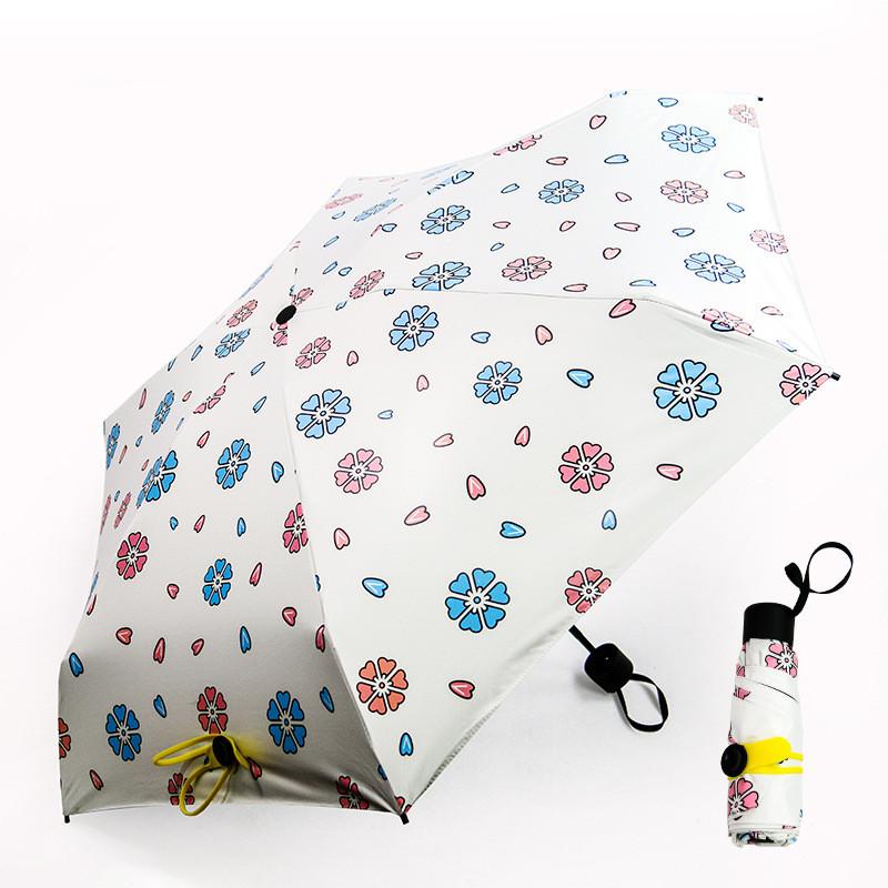 Мини зонт женский белый с цветами