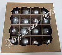 Коробка 160х160х30 мм. для 16 шариков (игрушек) крафт