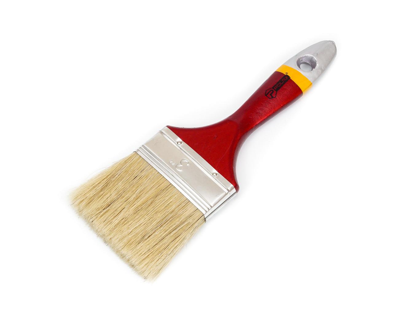 """Кисть плоская Polax Евро 3"""" (14-005) деревянная ручка"""