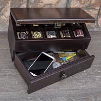 Шкатулка - камердинер для часов и аксессуаров из дерева DABO Hetch DS14