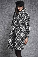 Женское пальто оверсайз черно-белого цвета. Модель 260056, фото 1