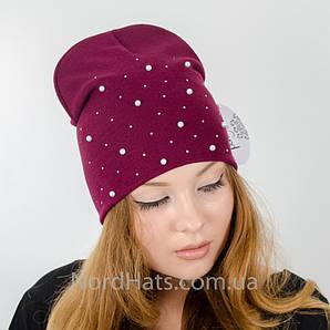 """Удлиненная двойная шапка  """"Молли"""", (Бордо)"""