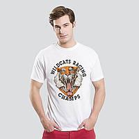 "Качественная мужская футболка ""Тигр"" белая. Размер 48, фото 1"