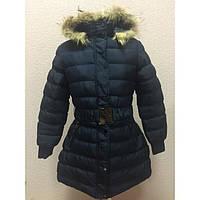 Зимняя женская куртка синего цвета  капюшон с натуральным мехом Ис 92