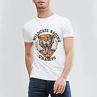 "Качественная мужская футболка ""Тигр"" белая. Размер 54-56, фото 1"