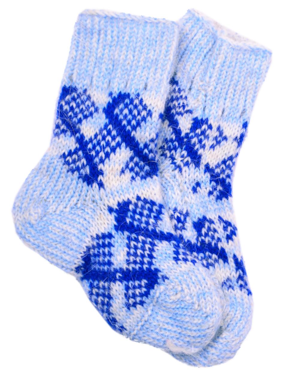 """Шерстяные носки детские """"Шов 2 Ромб синий"""""""