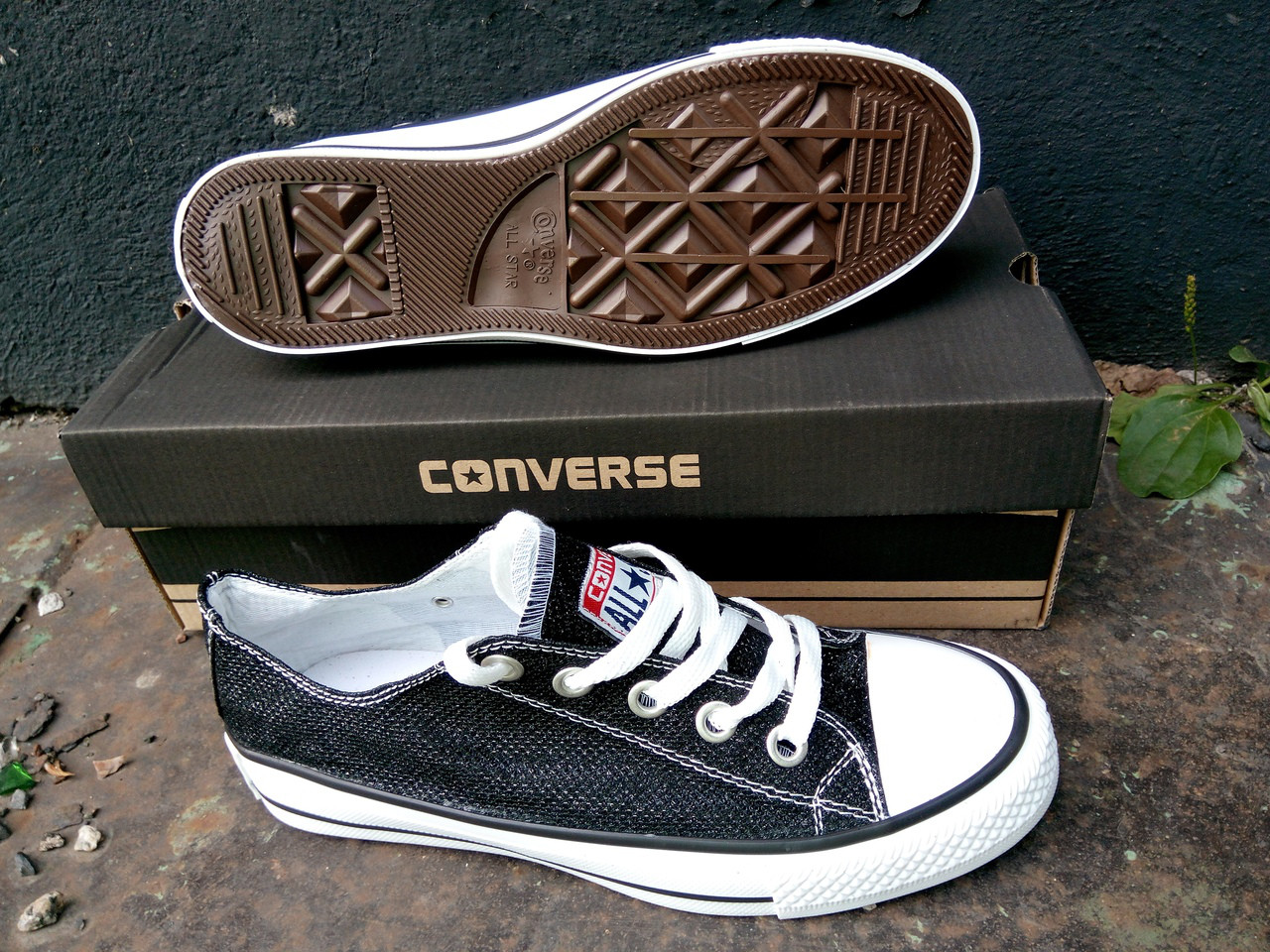 Кеды женские Converse черные блестящие