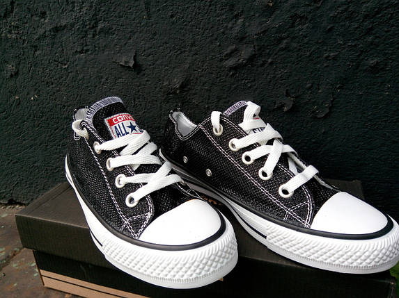 Кеды женские Converse черные блестящие, фото 2