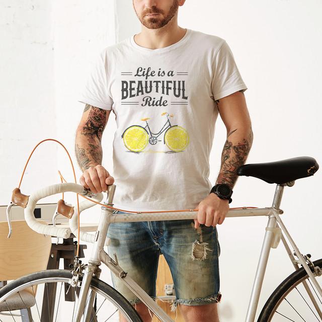 """Качественная белая мужская футболка """"Велик-лимон"""". Размеры 48-58"""