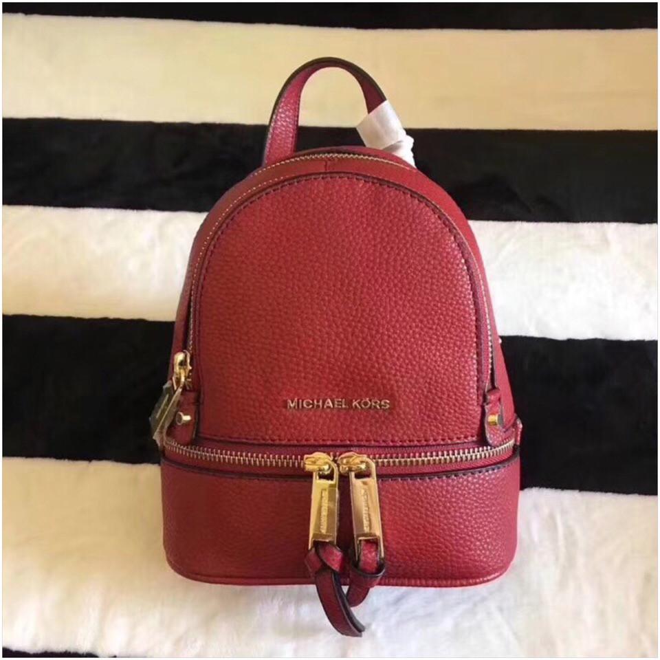Рюкзак, портфель Майкл Корс мини в красном цвете, натуральная кожа