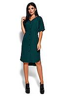 Темно-зеленое асимметричное платье, фото 1