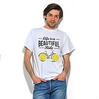 """Качественная мужская футболка """"Велик-лимон"""" белая. Размер 48"""
