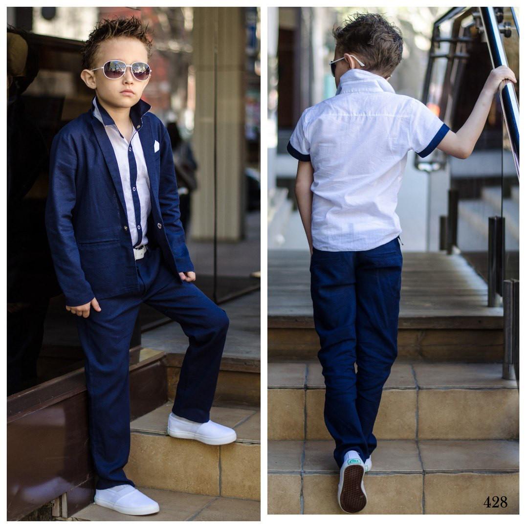 20ba166a03b Костюм школьный для мальчика тройка пиджак+брюки+рубашка костюмный лён  116-152