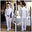 Костюм школьный для мальчика тройка пиджак+брюки+рубашка костюмный лён 116-152, фото 3