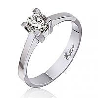 """Золотое кольцо с бриллиантом """"Нежность"""", белое золото, КД7418/1 Eurogold"""