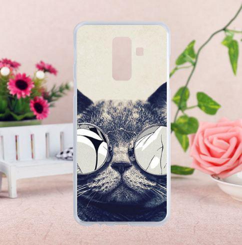 Бампер силиконовый чехол с принтом для Samsung A6 Plus 2018 Galaxy A605f Кот в очках