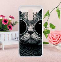 Бампер силиконовый чехол с принтом для Samsung A6 Plus 2018 Galaxy A605f Кот в черных очках