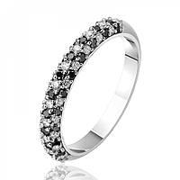 """Золотое кольцо с черными и белыми бриллиантами """"Бриллиантовая россыпь"""" , белое золото, КД7422/1ЧЕРН Eurogold"""