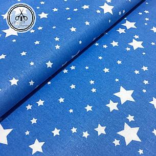 """Польская хлопковая ткань """"звездопад белый на голубом"""", фото 2"""