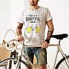 """Качественная мужская футболка """"Велик-лимон"""" белая. Размер 52-54"""