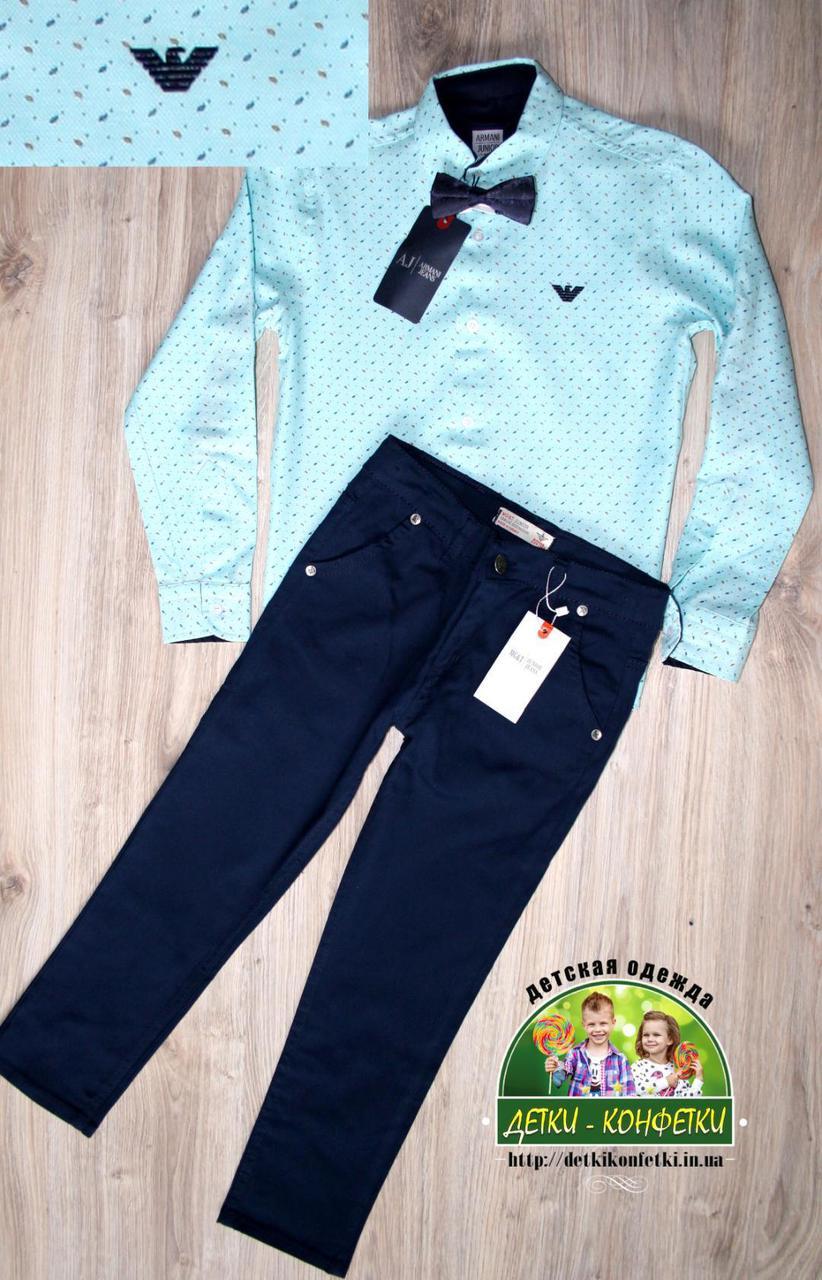 Яркий нарядный костюм Armani для мальчика 2-3 года: голубая или мятная рубашка и темно-синие брюки