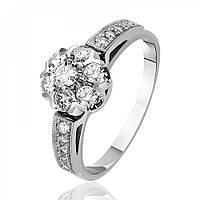 """Золотое кольцо с бриллиантами """"Малинка"""", белое золото, КД7432/1 Eurogold"""