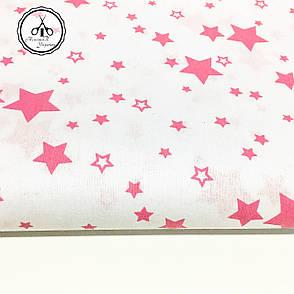 """Польская хлопковая ткань """"звездопад розовый на белом"""", фото 2"""