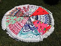 Пляжное круглое полотенце / подстилка Мандала 165 см / полотенце на пляж / пляжный коврик махра