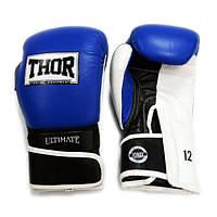 Боксерские перчатки 10 ун синие THOR ULTIMATE(PU)B/BL/WH